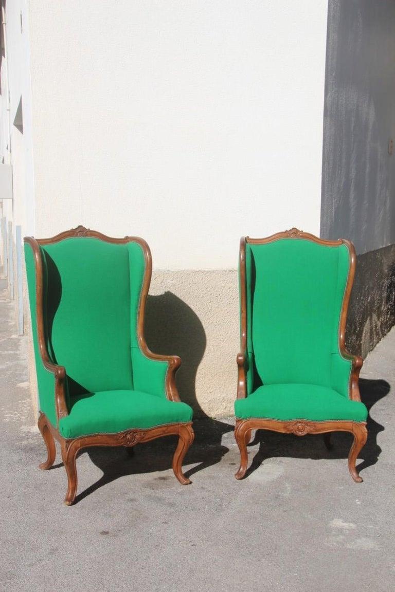 Pair of armchairs walnut wood green wool fabric high back Baroque midcentury.