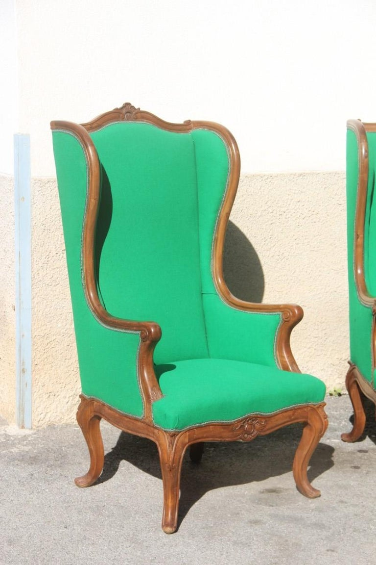 Mid-Century Modern Pair of Armchairs Walnut Wood Green Wool Fabric High Back Baroque Midcentury For Sale