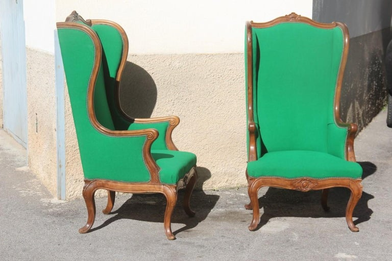 Italian Pair of Armchairs Walnut Wood Green Wool Fabric High Back Baroque Midcentury For Sale