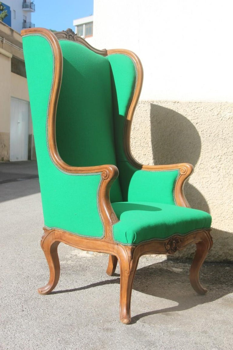 Pair of Armchairs Walnut Wood Green Wool Fabric High Back Baroque Midcentury For Sale 4