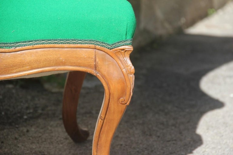 Pair of Armchairs Walnut Wood Green Wool Fabric High Back Baroque Midcentury For Sale 8