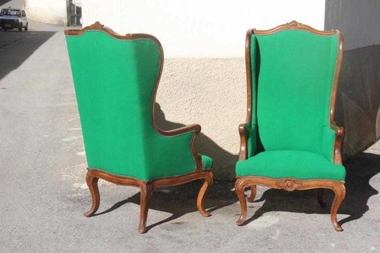 Pair of Armchairs Walnut Wood Green Wool Fabric High Back Baroque Midcentury For Sale 9