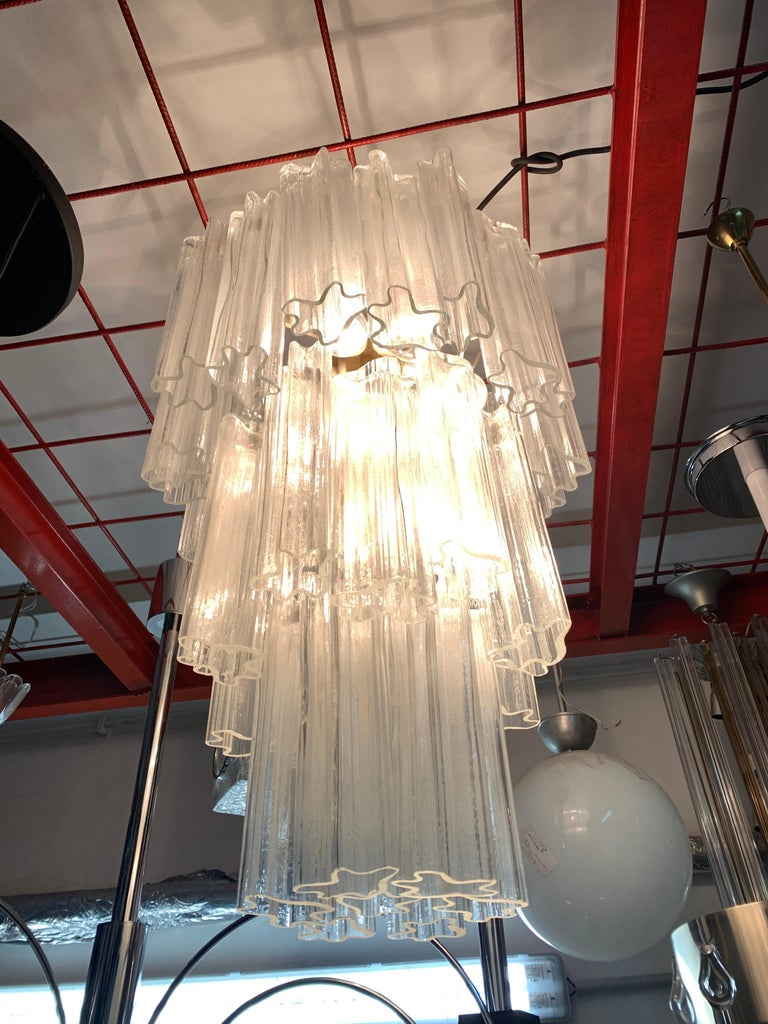 Venini Chandelier Mid-Century Modern Italian Design Murano Glass 1950  For Sale 4