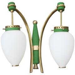 Stilnovo Style White Glass Green and Golden Brass Italian Sconces, 1958