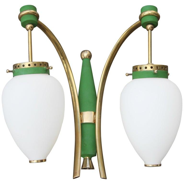 Stilnovo Style White Glass Green and Golden Brass Italian Sconces, 1958 For Sale