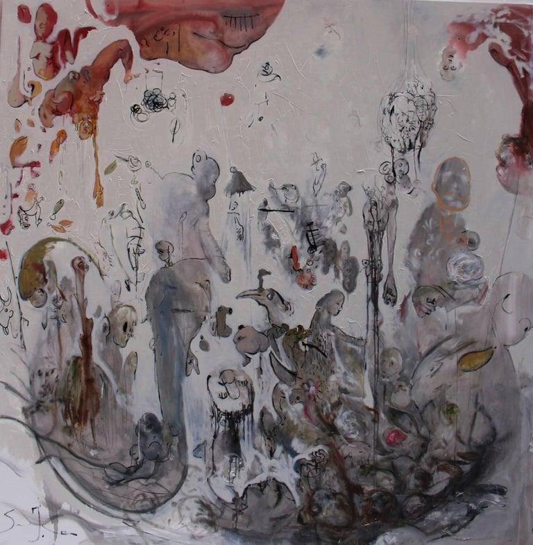 Italian Ignazio Schifano Contemporary Sicilian Artist Oil Painting on Canvas For Sale