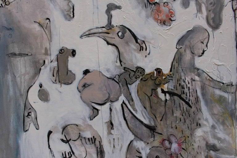Oiled Ignazio Schifano Contemporary Sicilian Artist Oil Painting on Canvas For Sale