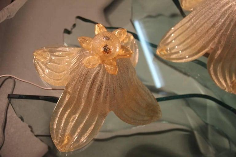 Late 20th Century Murano Table Lamp Glass 1970s Gold Powder Italian Design  For Sale