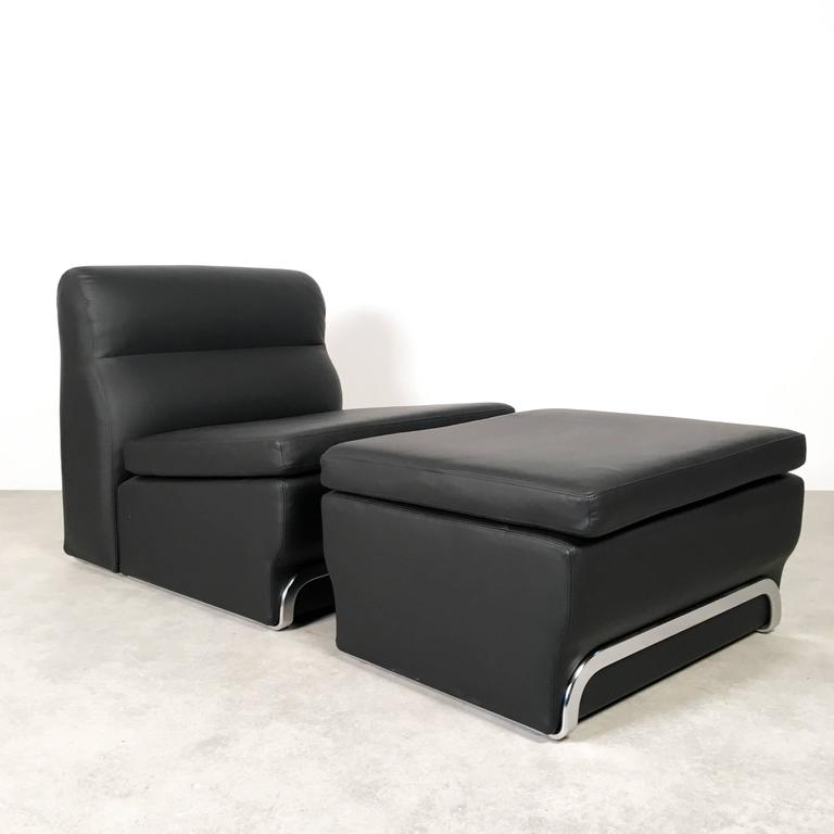 Leather lounge chair with ottoman by horst br ning for for Lounge chair kopie