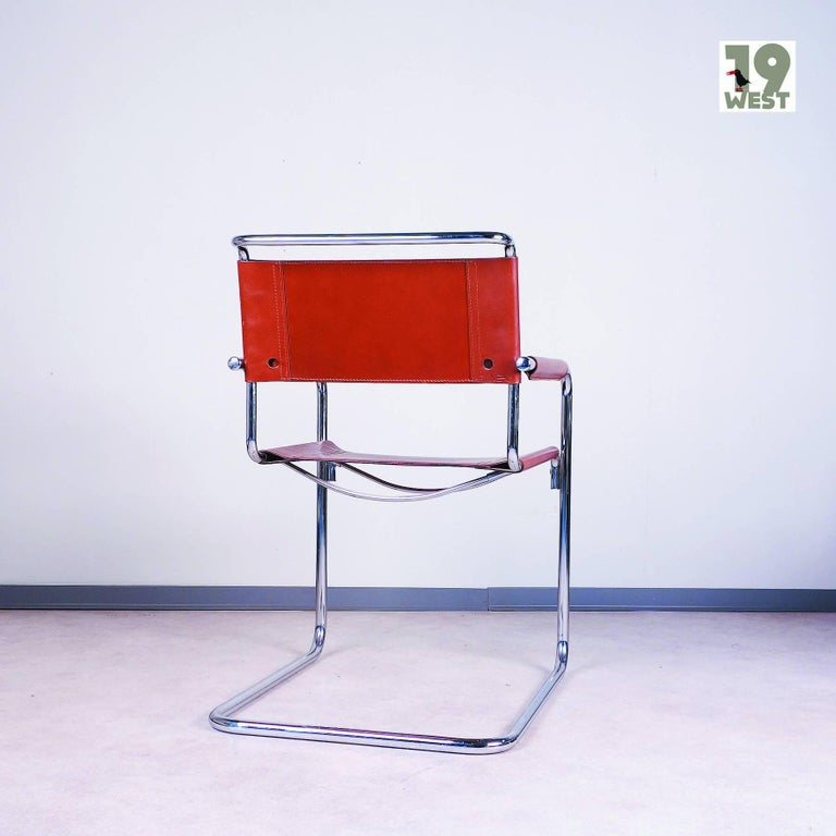Tubular Steel Cantilever Chair By Linea Veam 1980s For Sale At 1stdibs