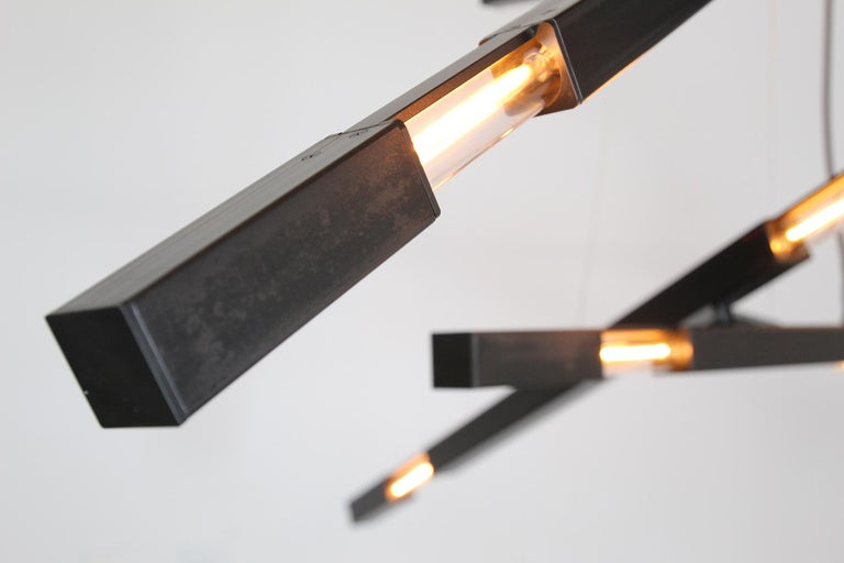 Modern Large Three Branch Dynamic Stilk Chandelier in Onyx Waxed Black For Sale