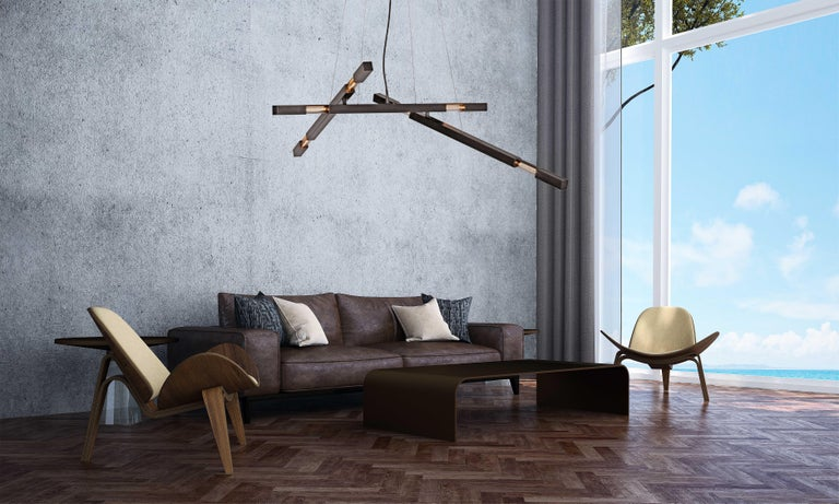 American Large Three Branch Dynamic Stilk Chandelier in Onyx Waxed Black For Sale