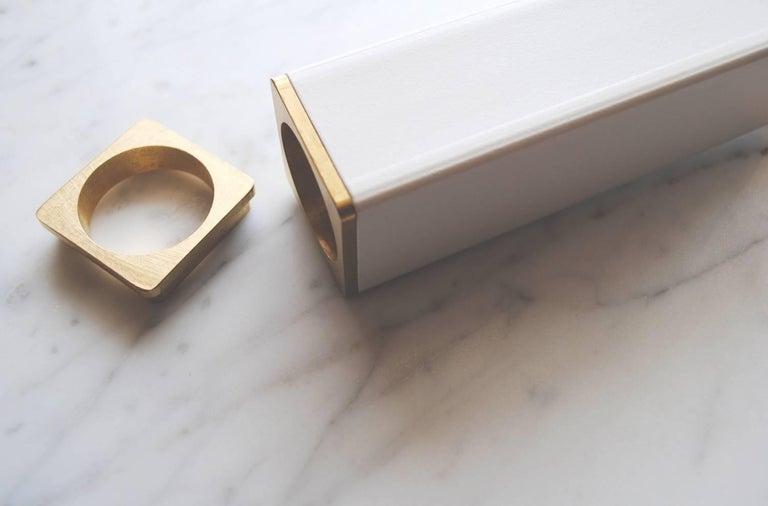 Powder-Coated Contemporary Steel Modern Chandelier in Black with Brass Details, Kros Stilk For Sale