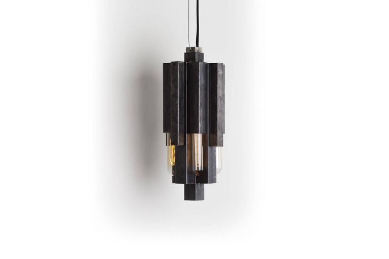 Brutalist Nouveau Pendant Light In Brass Or Steel, Mid