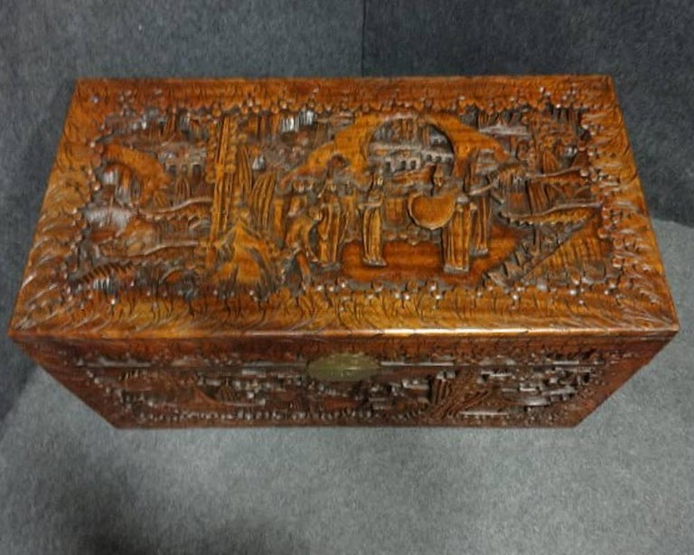 Carved Oriental Camphor Wood Chest Ottoman Coffer