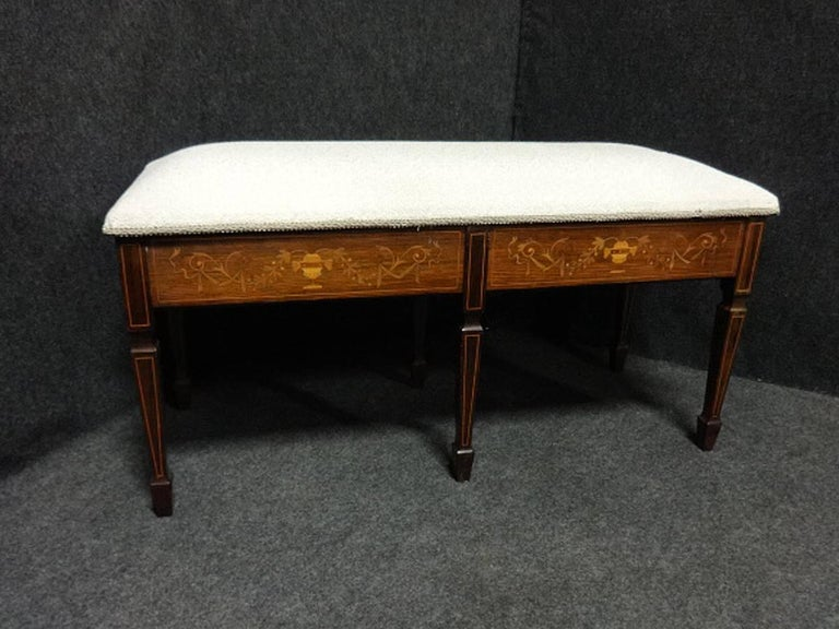 Beautiful Edwardian Rosewood Inlaid Duet Piano Stool For