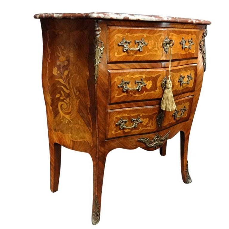 French Marquetry Chest Of Drawers Of Small Proportions For