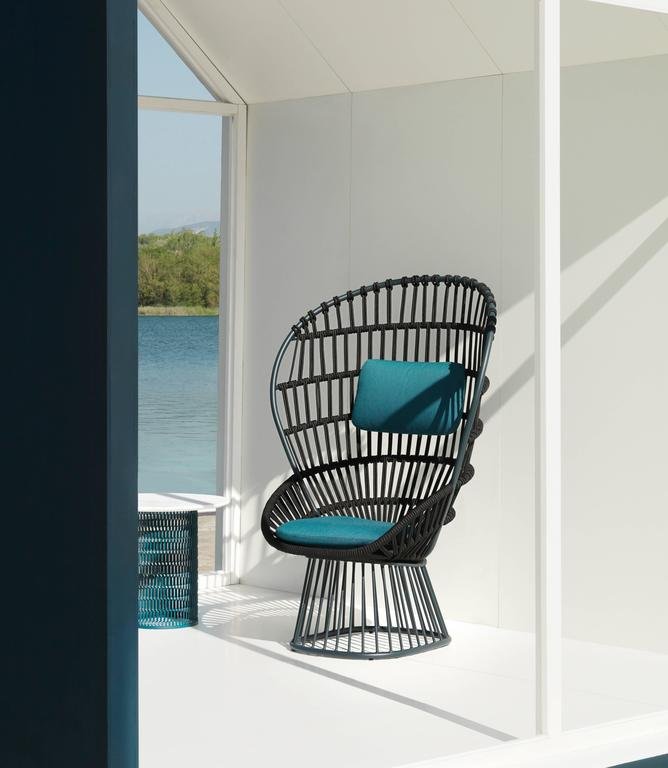 Powder-Coated Kettal Cala Armchair for Indoor/Outdoor Use For Sale