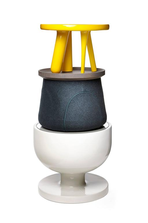 Modern Moooi Elements 002 Table by Jaime Hayon in Yellow, Light Grey or Dark Grey For Sale