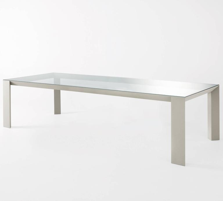 Table with aluminium structure covered by tobacco stained or wengé stained oak.