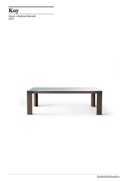 Gallotti an Radice Koy Table in Wood or Lacquered Base with Glass Top In New Condition For Sale In Rhinebeck, NY