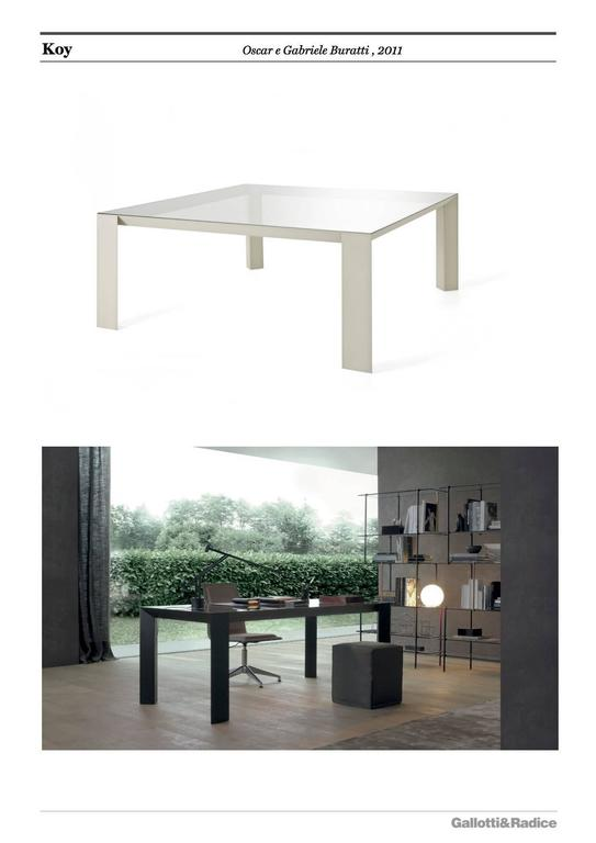 Aluminum Gallotti an Radice Koy Table in Wood or Lacquered Base with Glass Top For Sale