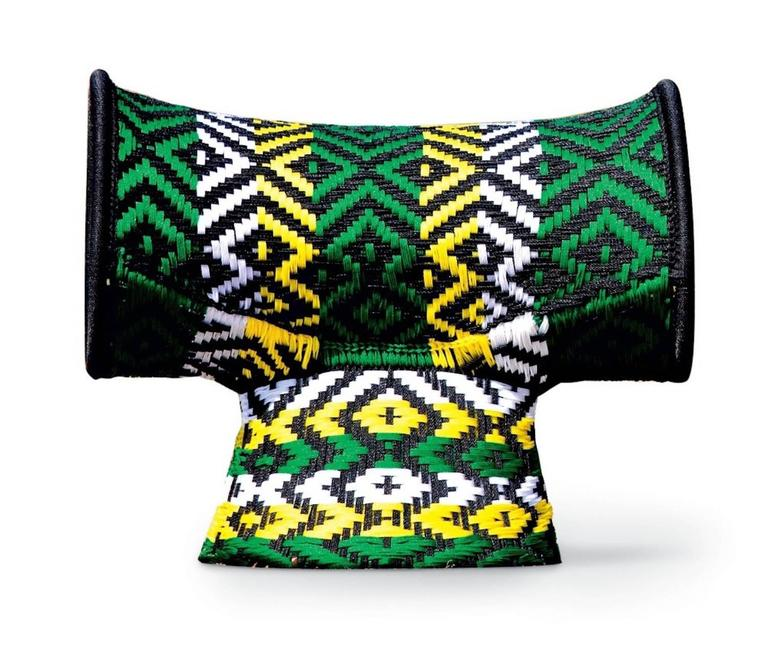 Seating made using woven threads normally used for fishing nets, the designs are all different and original, like their names. Handwoven, they are human in their perfections and flaws.  Painted steel base and colored polyethylene threads handwoven.
