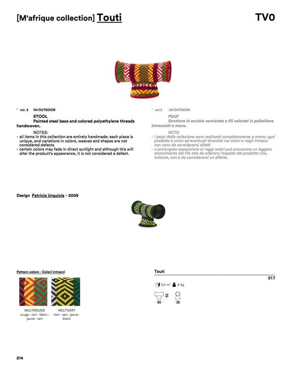Steel Moroso Touti Stool by Patricia Urquiola in Red or Green Color Combinations For Sale