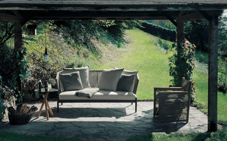 Powder-Coated Roda Spool Two-Seat Sofa for Outdoor/Indoor Use by Rodolfo Dordoni For Sale