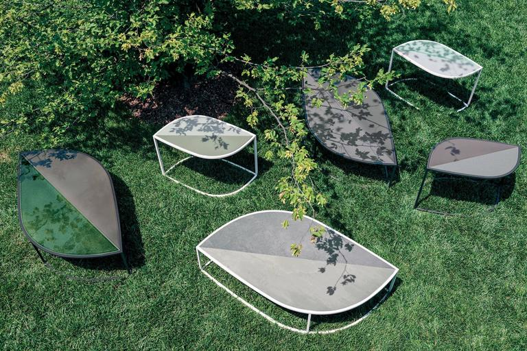Stainless Steel Roda Leaf Coffee Table for Outdoor/Indoor Use in Glazed or Natural