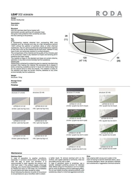 Roda Leaf Coffee Table for Outdoor/Indoor Use in Glazed or Natural