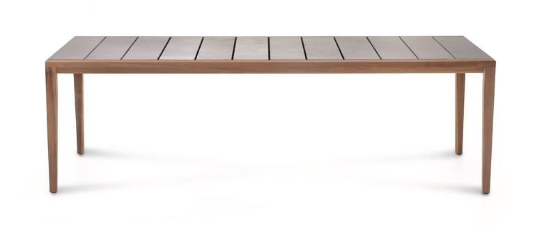 Modern Roda Teka Dining Table for Outdoor/Indoor Use in Teak and Glazed or Matt