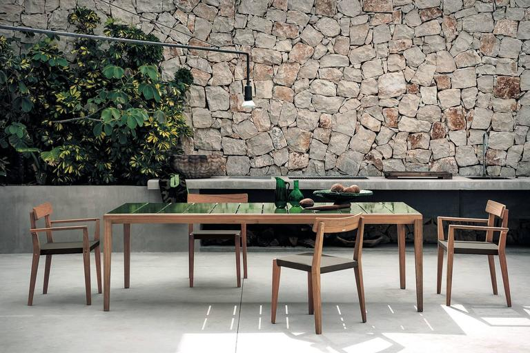 Contemporary Roda Teka Dining Table for Outdoor/Indoor Use in Teak and Glazed or Matt