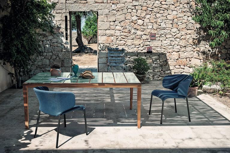 Stoneware Roda Teka Dining Table for Outdoor/Indoor Use in Teak and Glazed or Matt