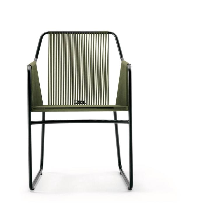Modern Roda Harp Dining Chair with Arms for Outdoor/Indoor Use in 5 Color Combinations For Sale