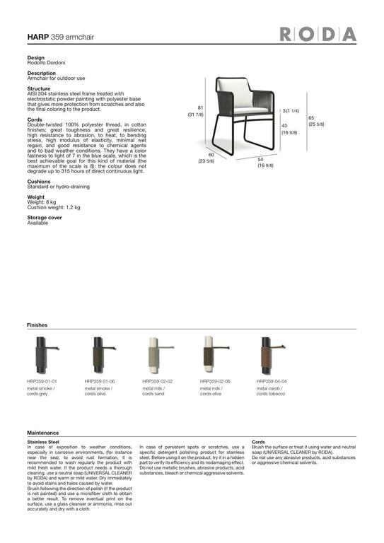 Roda Harp Dining Chair with Arms for Outdoor/Indoor Use in 5 Color Combinations For Sale 2