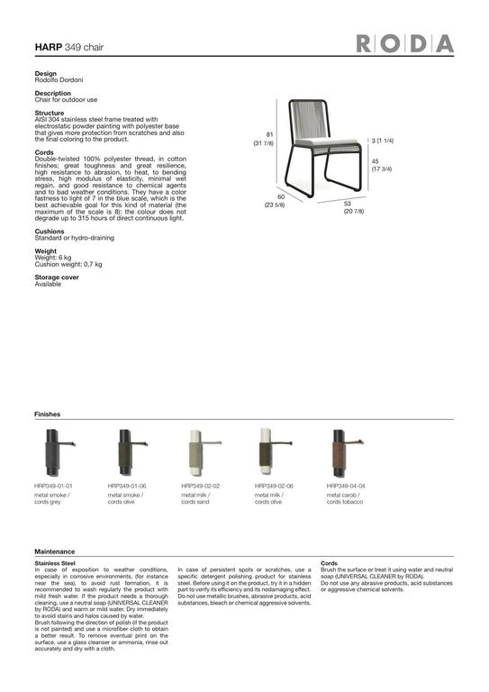 Polyester Roda Harp Dining Chair Without Arms for Outdoors/Indoors in 5 Color Combinations For Sale