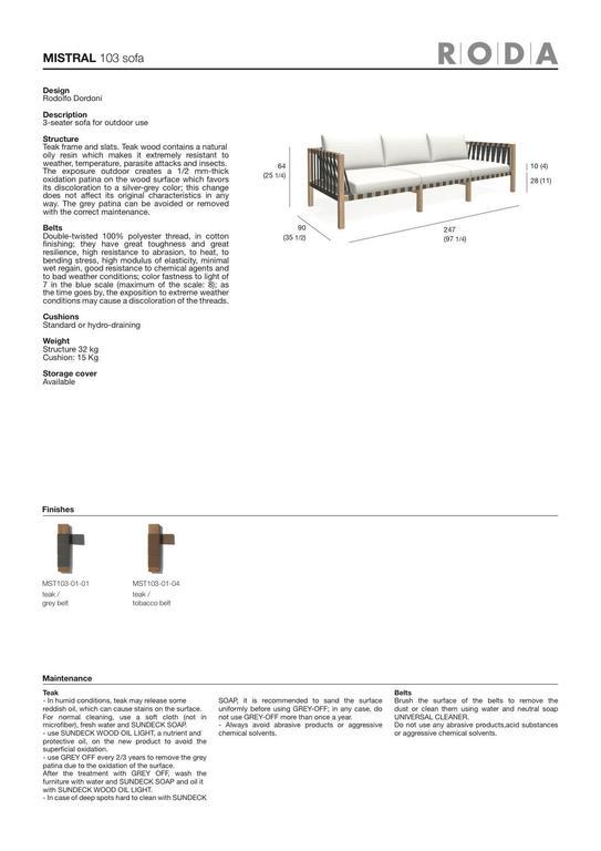 Italian Roda Mistral 103 Three-Seat Sofa in Teak for Outdoor/Indoor Use For Sale