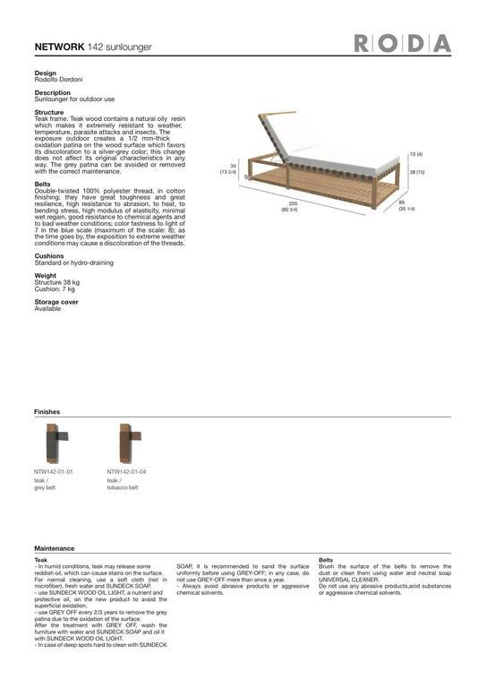 Roda Network 142 Sunlounger in Teak for Outdoor/Indoor Use For Sale 2