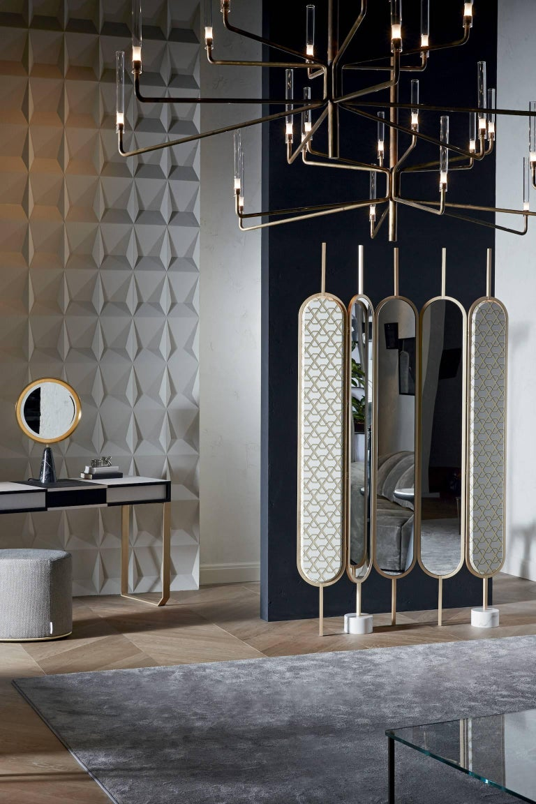 Modern Gallotti & Radice Chloé Screen/Mirror in Brass Finish with Fabric Panels For Sale