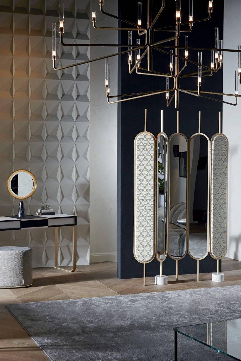 Gallotti & Radice Chloé Screen/Mirror in Brass Finish with Fabric Panels 3