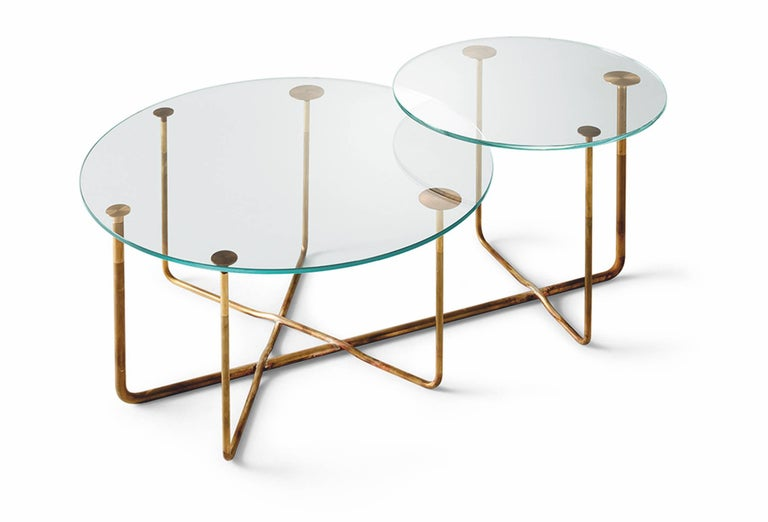 Contemporary Cappuccino Connect It Computer: Gallotti And Radice Connection Table In Hand Burnished