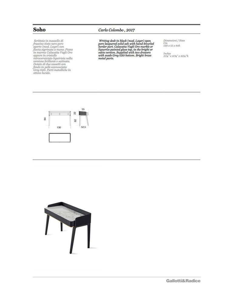 Soho Personal Writing Desk / Vanity in Blackened Wood with Marble or Glass Top For Sale 1