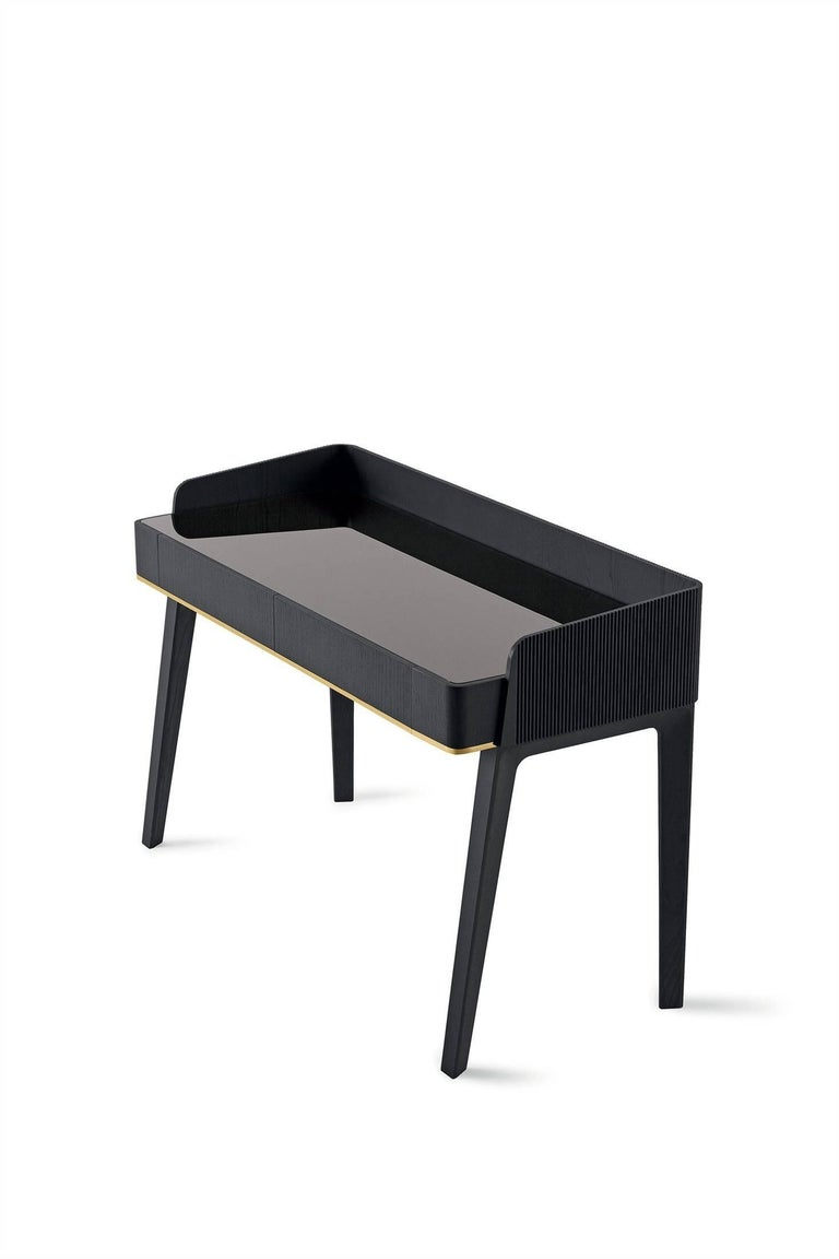 Soho Personal Writing Desk / Vanity in Blackened Wood with Marble or Glass Top In New Condition For Sale In Rhinebeck, NY