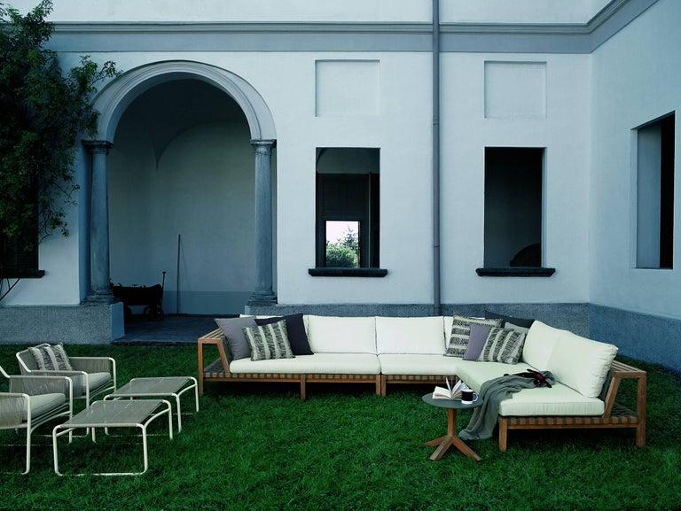 Contemporary Roda Outdoor Network Sofa Teak w/ Grey Belts & Tan Cushions in  Stock & - Roda Outdoor Network Sofa Teak W/ Grey Belts And Tan Cushions In