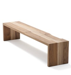 Arco Code Bench in Walnut with Maple Stripes or Maple with Walnut Stripes