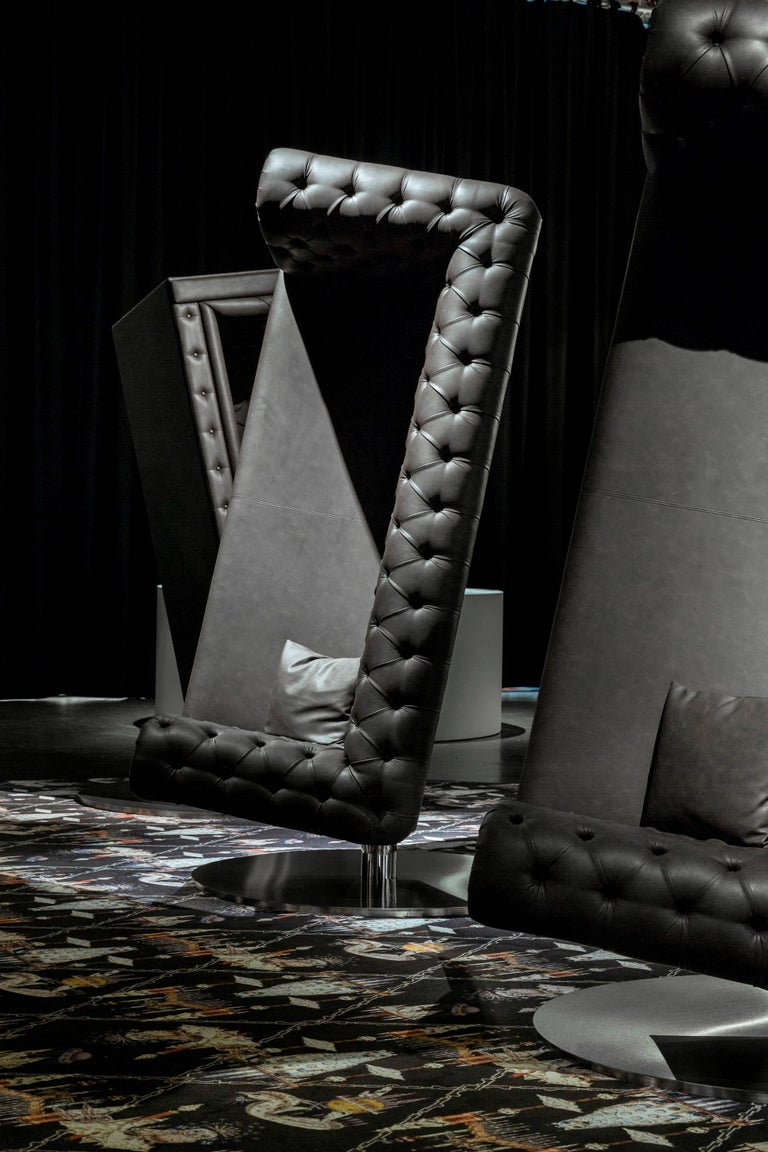 Contemporary Moooi Charleston Armchair Sofa Designed by Marcel Wanders in Dark Brown Leather For Sale