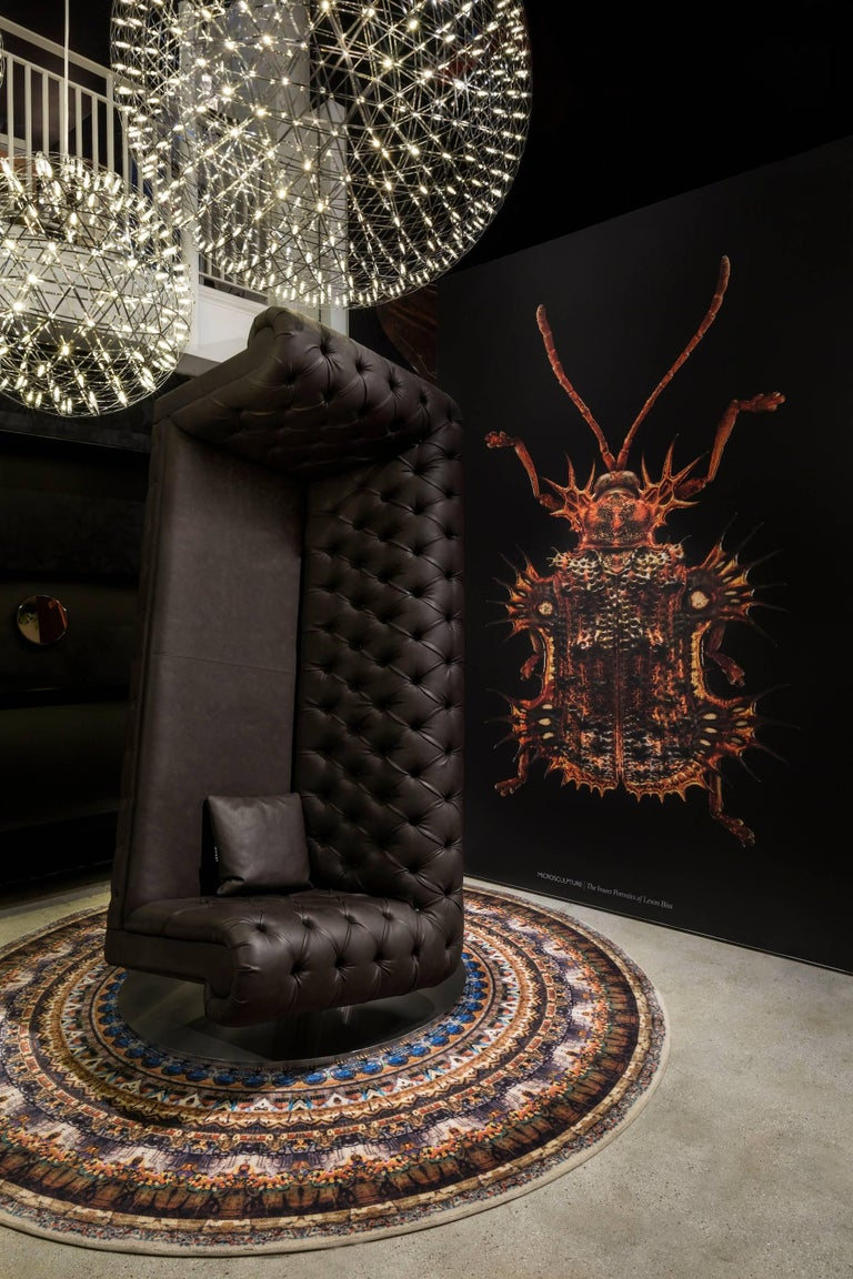 Modern Moooi Charleston Armchair Sofa Designed by Marcel Wanders in Dark Brown Leather For Sale