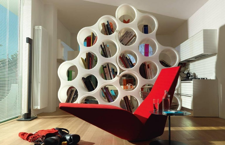 Plastic Cloud Modular Double-Faced Bookshelf in White Polypropylene for Cappellini For Sale
