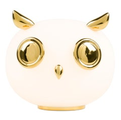 Moooi Uhuh Table Lamp in White Opal Glass and Gold Painted Ceramic